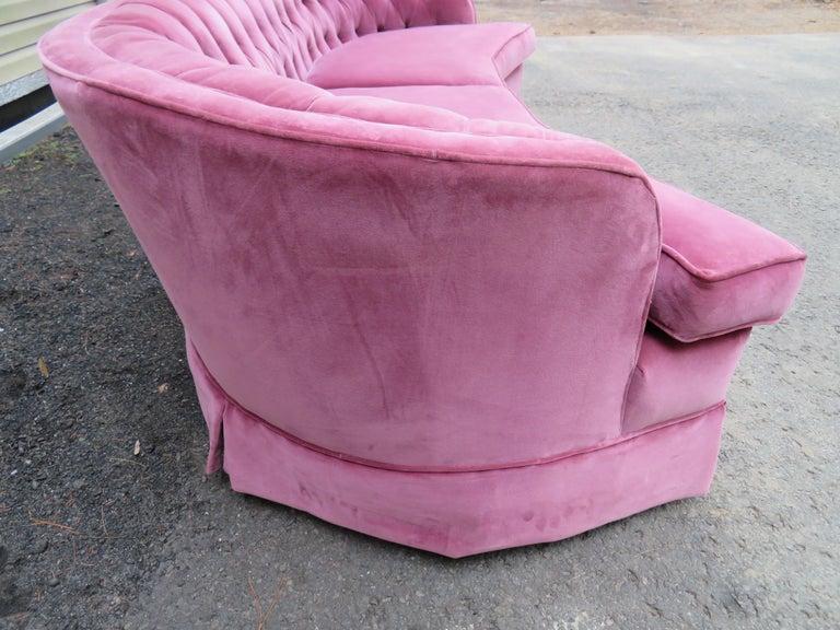 Upholstery Lovely Dorothy Draper Style Lilac Velvet Curved Tufted Sofa Hollywood Regency For Sale