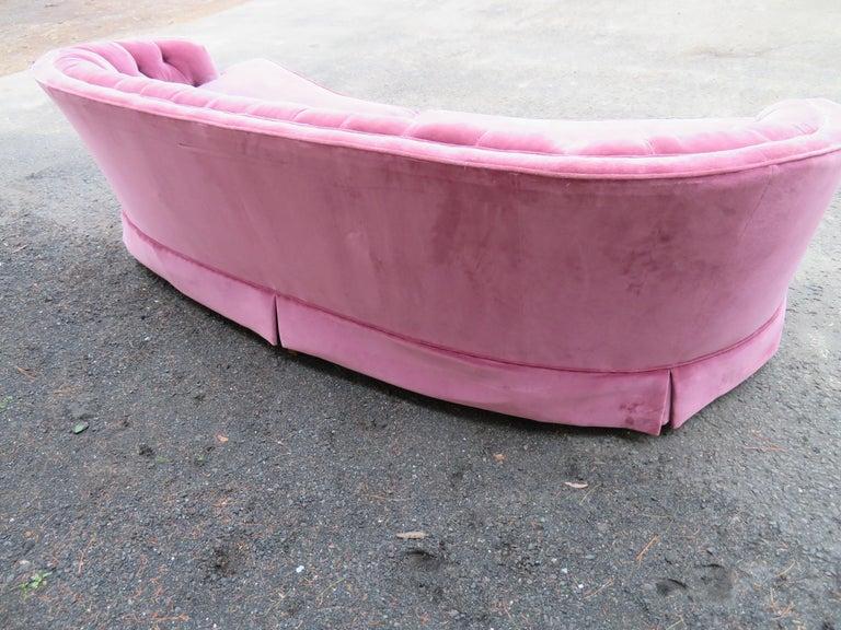 Lovely Dorothy Draper Style Lilac Velvet Curved Tufted Sofa Hollywood Regency For Sale 1