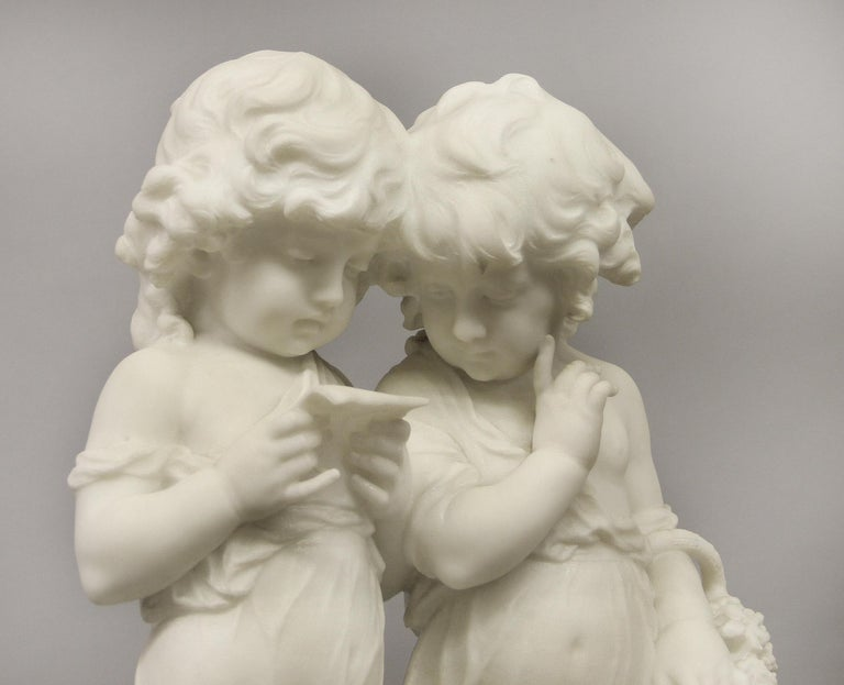 Belle Époque Lovely Early 20th Century Italian Carrara Marble Sculpture by Affortunato Gory For Sale