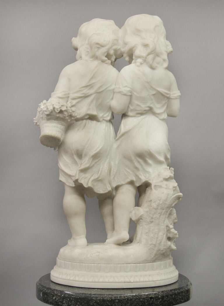 Hand-Carved Lovely Early 20th Century Italian Carrara Marble Sculpture by Affortunato Gory For Sale