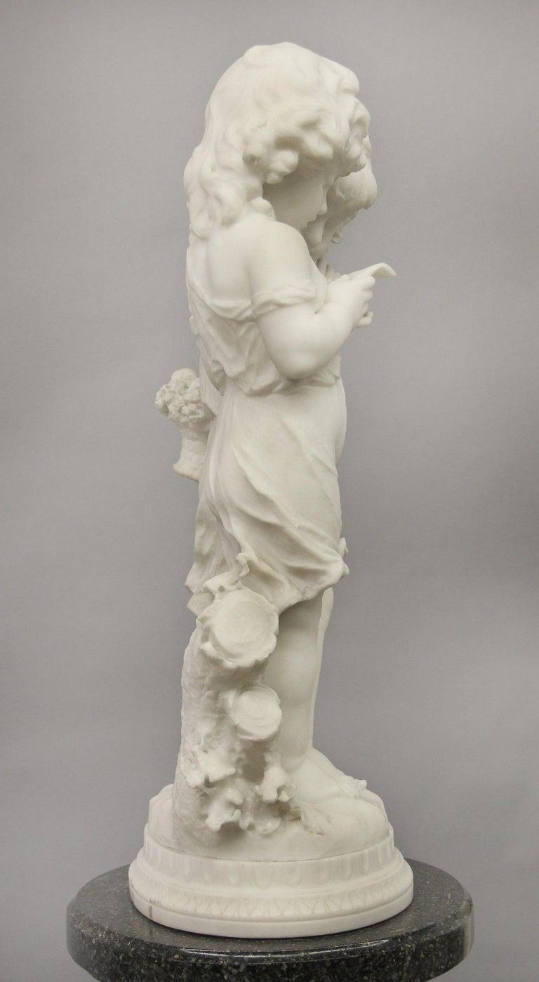 Lovely Early 20th Century Italian Carrara Marble Sculpture by Affortunato Gory In Good Condition For Sale In New York, NY