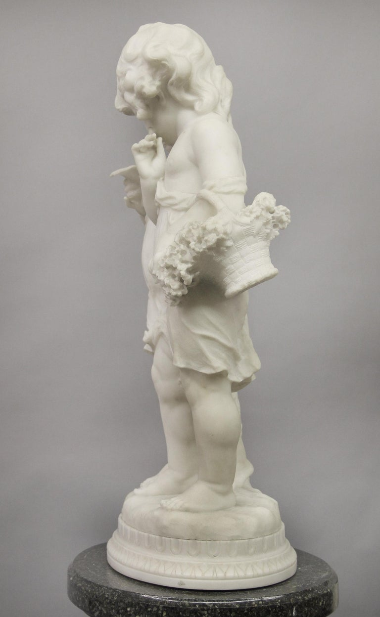 Lovely Early 20th Century Italian Carrara Marble Sculpture by Affortunato Gory For Sale 1