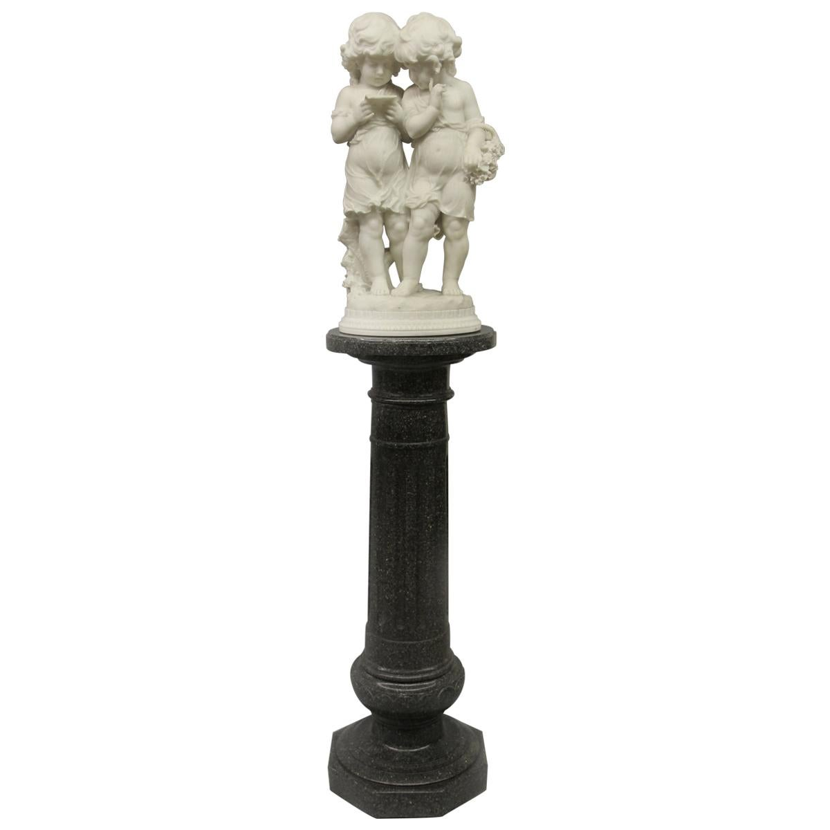 Lovely Early 20th Century Italian Carrara Marble Sculpture by Affortunato Gory