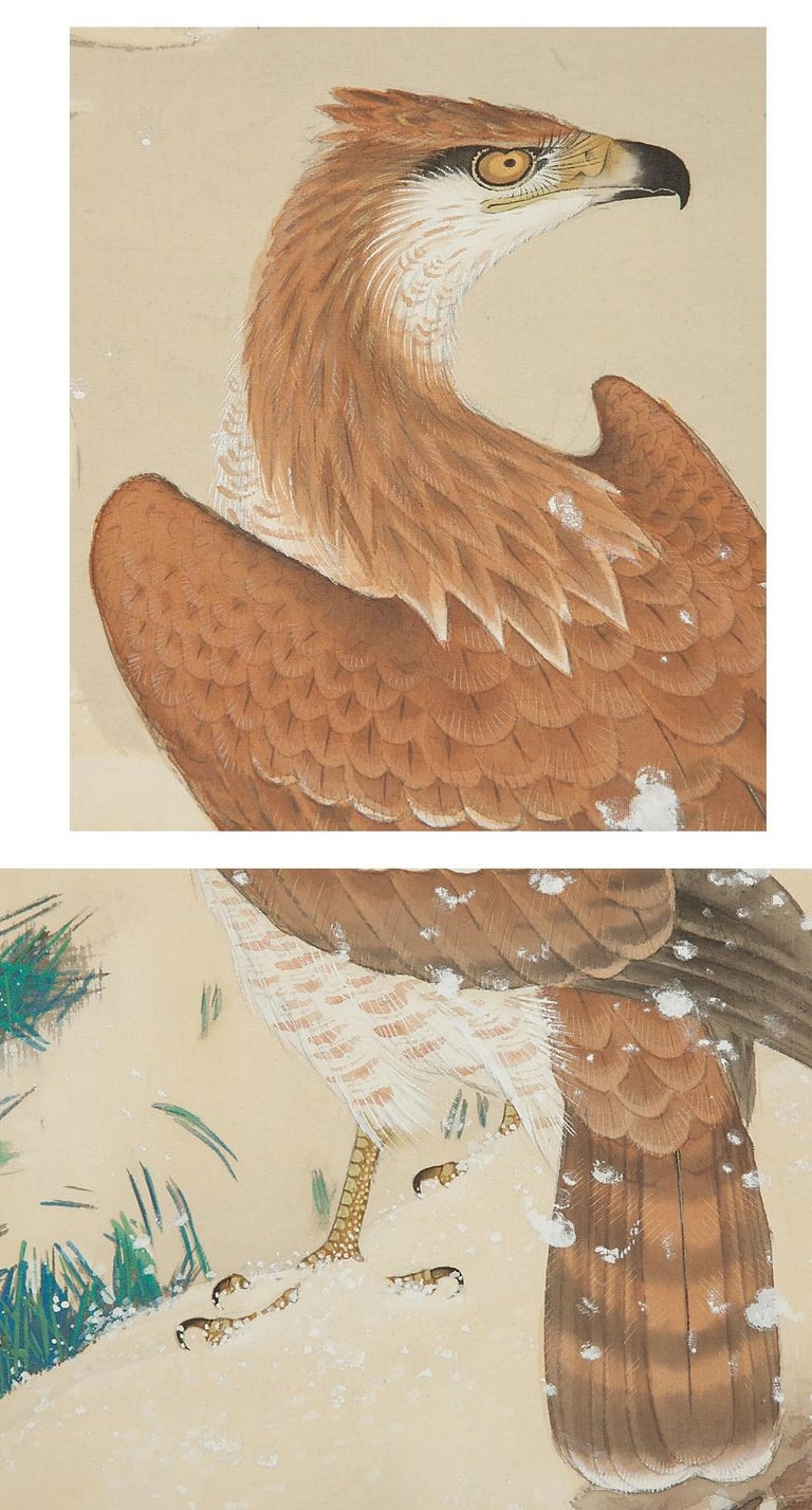 Meiji Lovely Early 20th Century Scroll Paintings Japan Artist Signed Hawk in Snow For Sale