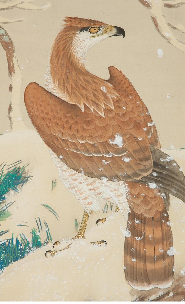 Japanese Lovely Early 20th Century Scroll Paintings Japan Artist Signed Hawk in Snow For Sale
