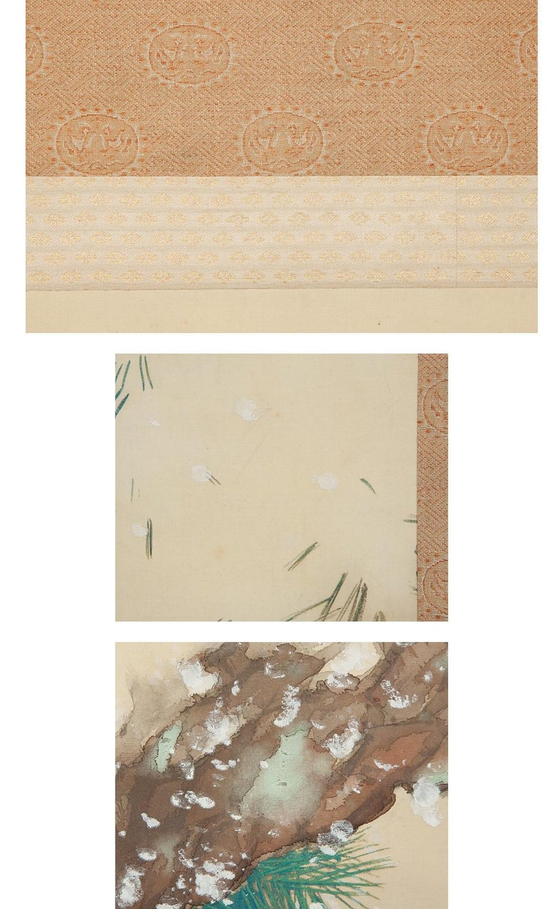 Silk Lovely Early 20th Century Scroll Paintings Japan Artist Signed Hawk in Snow For Sale