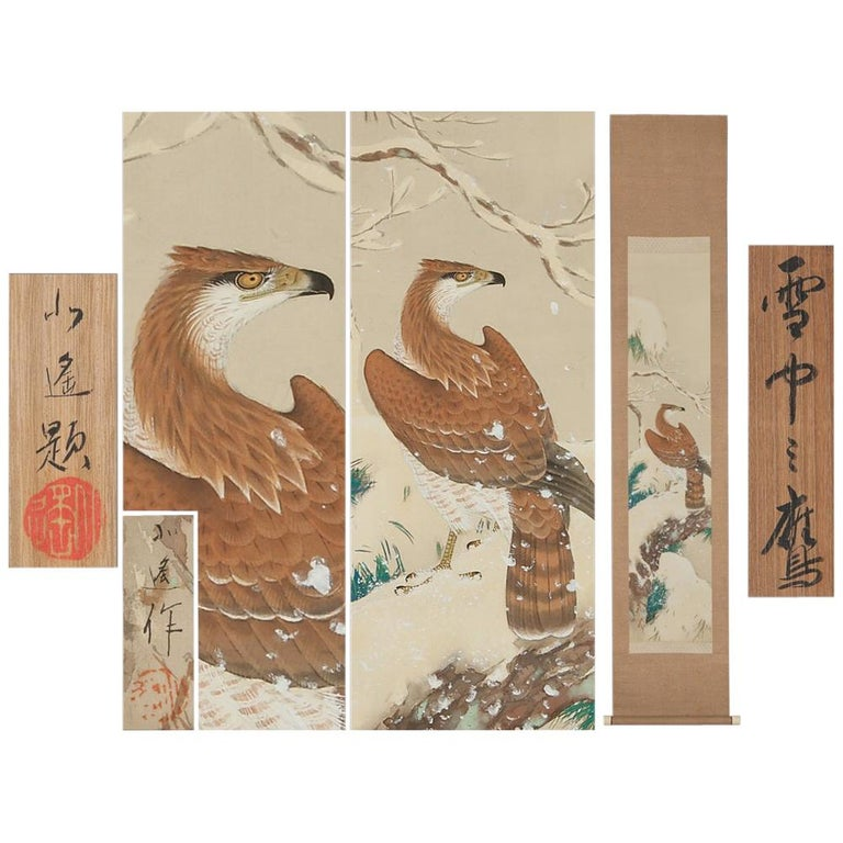 Lovely Early 20th Century Scroll Paintings Japan Artist Signed Hawk in Snow For Sale