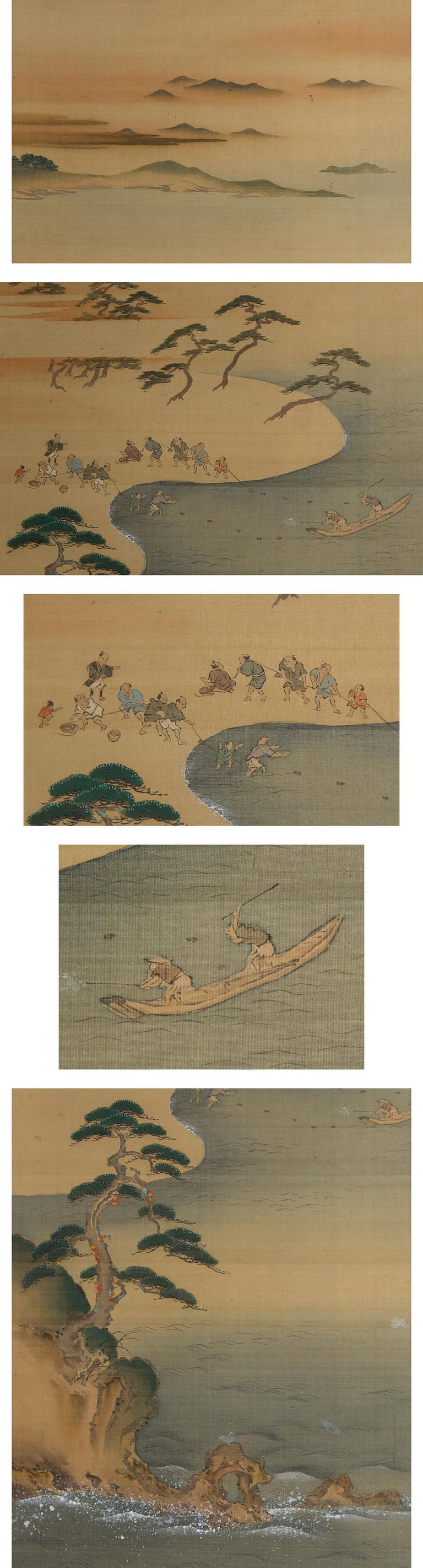 Japanese Lovely Early 20th Century Scroll Paintings Japan Artist Signed Landscape Pair For Sale