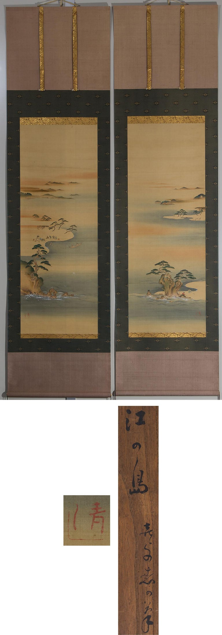Silk Lovely Early 20th Century Scroll Paintings Japan Artist Signed Landscape Pair For Sale