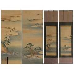Lovely Early 20th Century Scroll Paintings Japan Artist Signed Landscape Pair