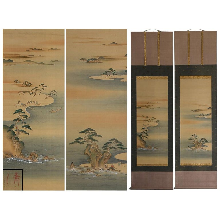 Lovely Early 20th Century Scroll Paintings Japan Artist Signed Landscape Pair For Sale