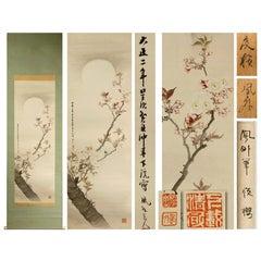 Lovely Early 20th Century Scroll Paintings Japan Meiji Artist Kazegedo, 1913