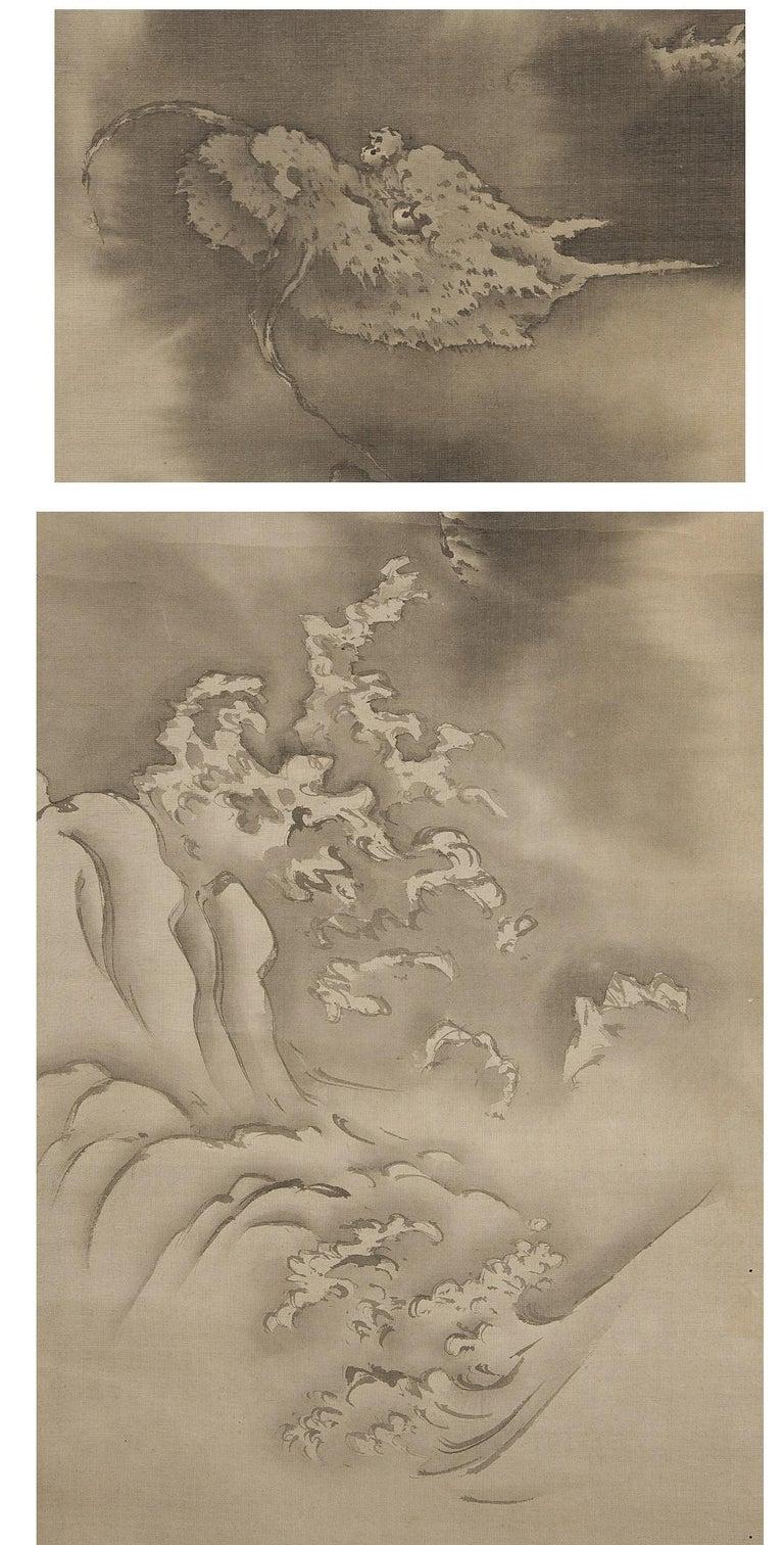 Silk Lovely Edo Period Scroll Paintings Japan Artist Saeki Kishi Ganku Dragon Clouds For Sale