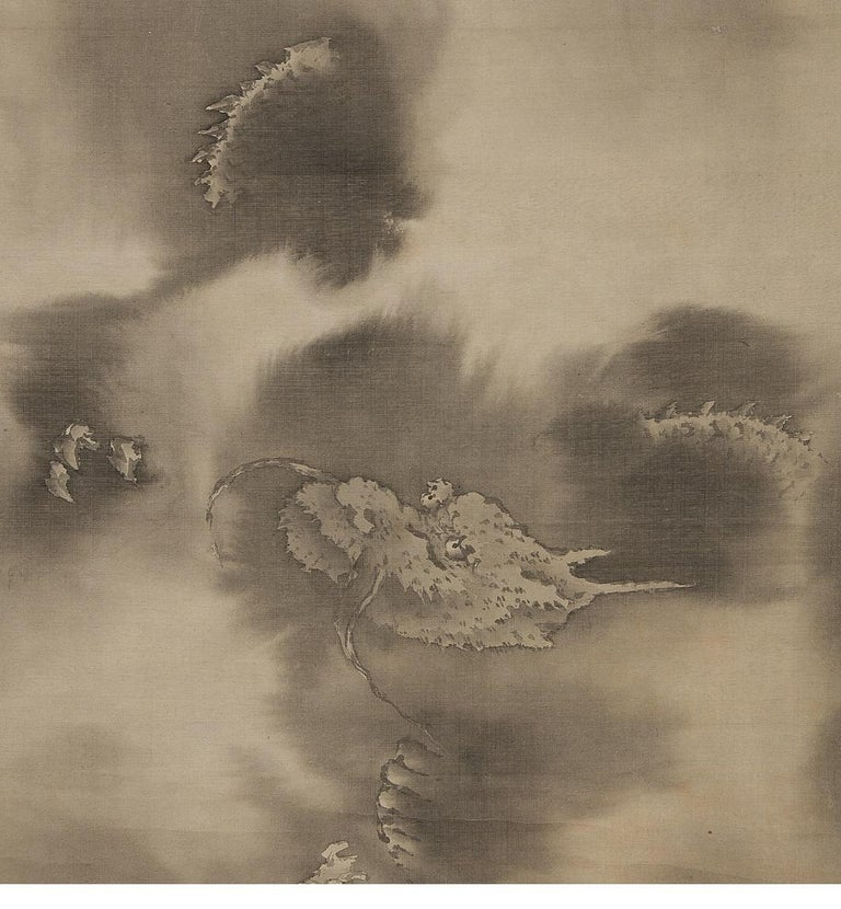 Lovely Edo Period Scroll Paintings Japan Artist Saeki Kishi Ganku Dragon Clouds For Sale 1