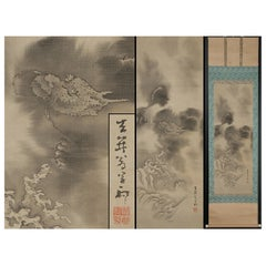 Lovely Edo Period Scroll Paintings Japan Artist Saeki Kishi Ganku Dragon Clouds