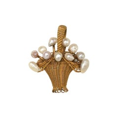 Lovely Edwardian Basket Pendant with Pearls