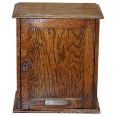 Lovely Edwardian English Oakwood Key Box with Plaque from Honley Congregation