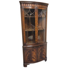 Lovely Flame Mahogany English Corner Cabinet by Bevan Funnell