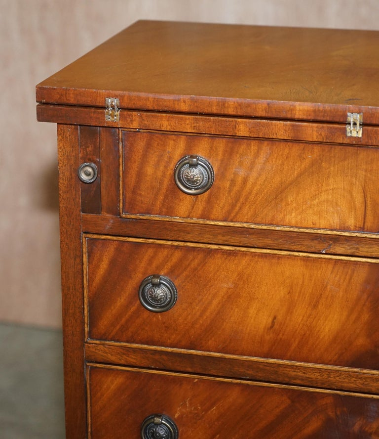 Hand-Crafted Lovely Flamed Mahogany Batchelors Chest of Drawers with Folding Butlers Shelf For Sale