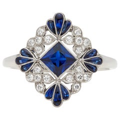Lovely Floral Sapphire and Diamond Platinum Ring