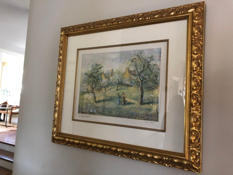 Early 20th Century Lovely Framed Trees in Bloom Aquatint Signed by H Claude Pissarro