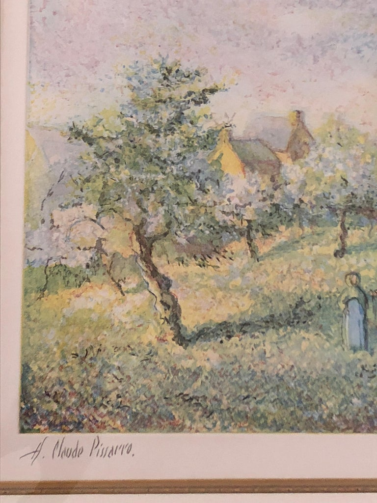 Lovely Framed Trees in Bloom Aquatint Signed by H Claude Pissarro 1