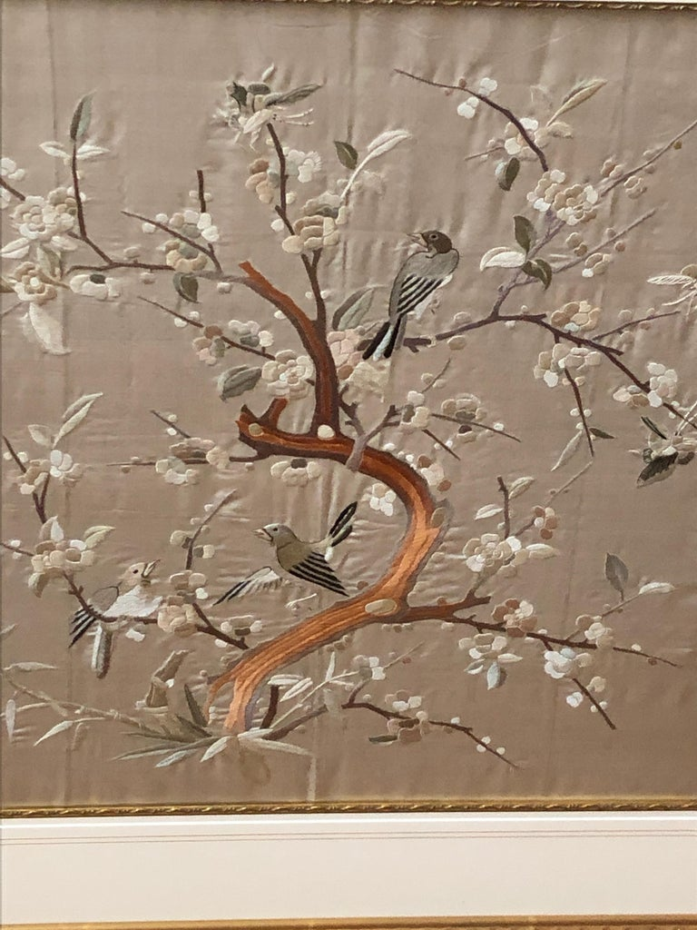 Embroidered Lovely Framed Vintage Japanese Silk Embroidery