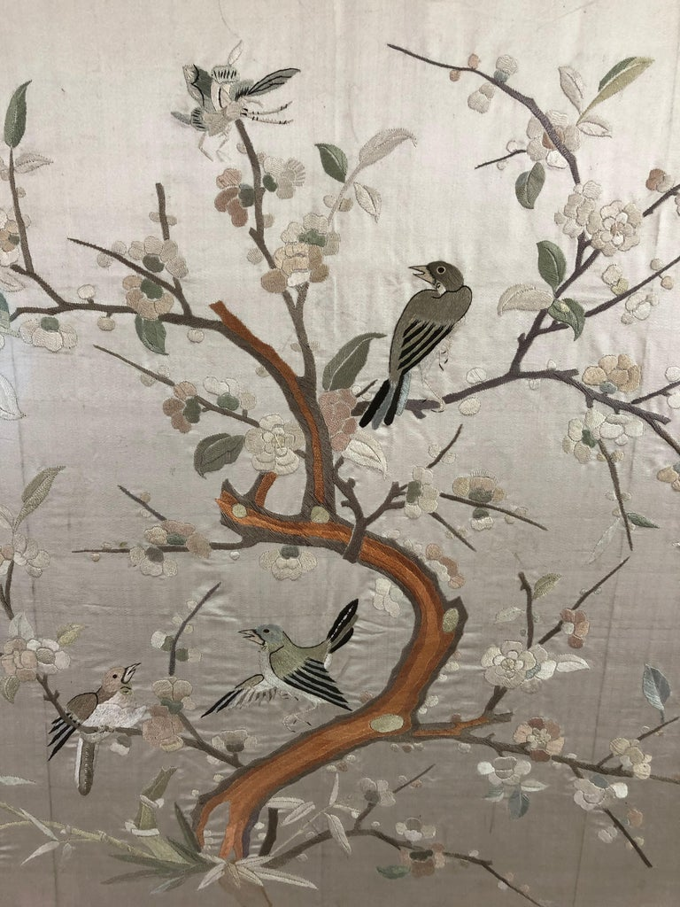 Lovely Framed Vintage Japanese Silk Embroidery In Excellent Condition In Hopewell, NJ