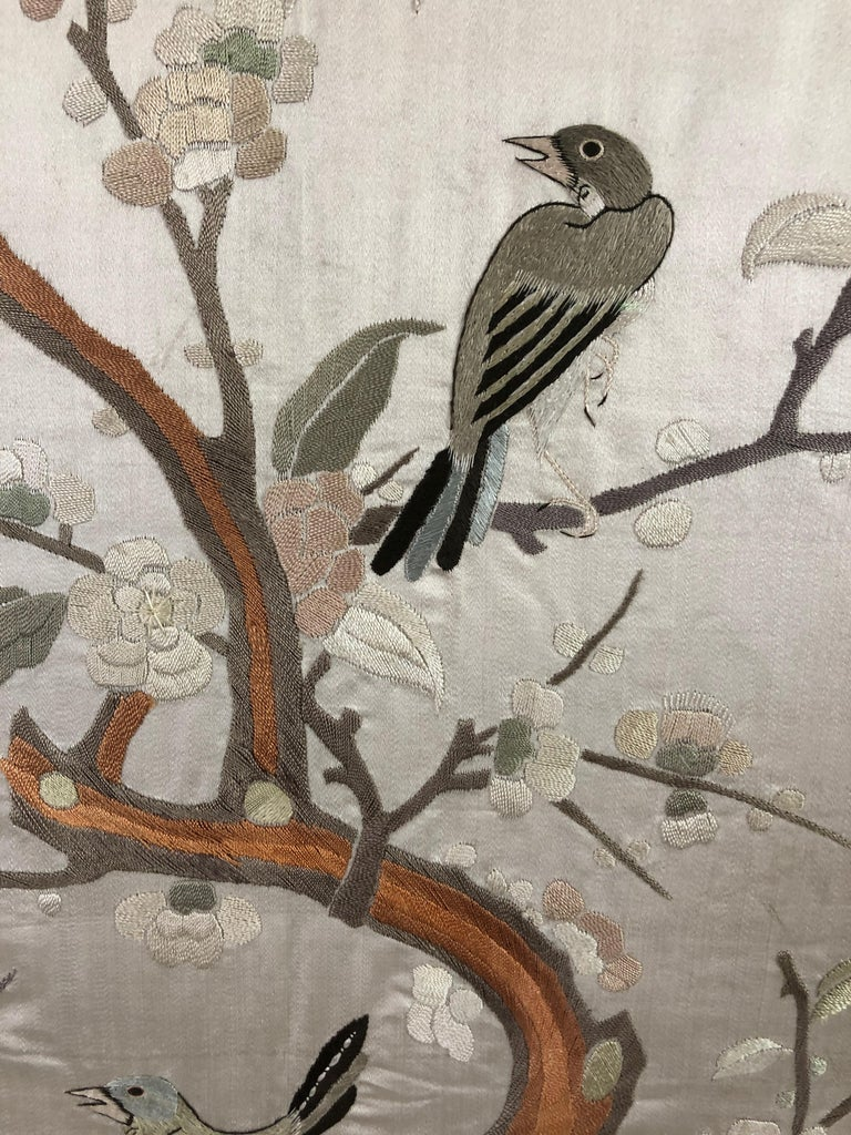 Mid-20th Century Lovely Framed Vintage Japanese Silk Embroidery