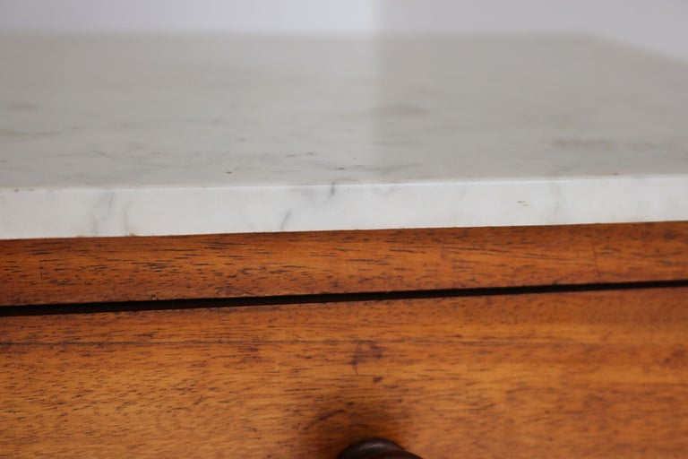 Carrara Marble Lovely French Antique 19th Century Night Stand / Bedside Table with Carrara Top For Sale