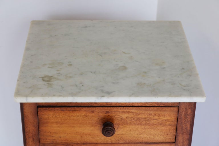 Lovely French Antique 19th Century Night Stand / Bedside Table with Carrara Top For Sale 1