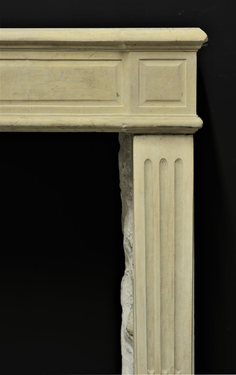 Limestone Lovely French Antique Louis XVI Fireplace Mantel For Sale