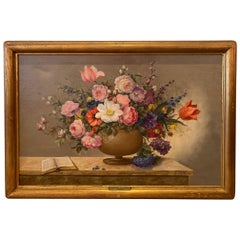 Lovely French Floral Still Life Painting on Canvas by Corbe
