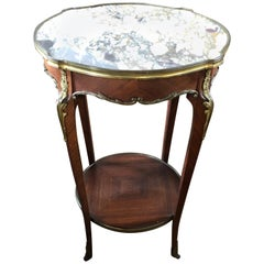 Lovely French Round Louis XVI Marble-Top and Mahogany Side Table