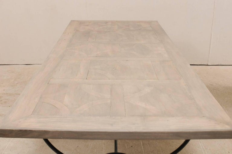 Lovely French Vintage Table with Inlay Wood Top On Large Scrolling Iron Base For Sale 5