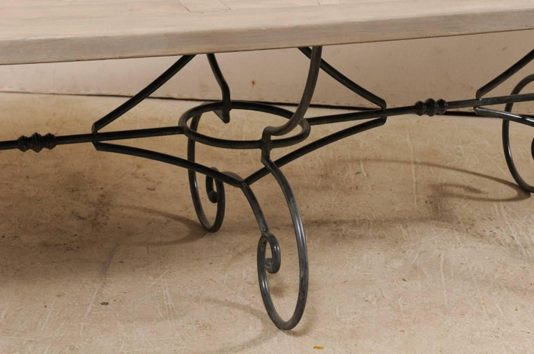 Lovely French Vintage Table with Inlay Wood Top On Large Scrolling Iron Base For Sale 6