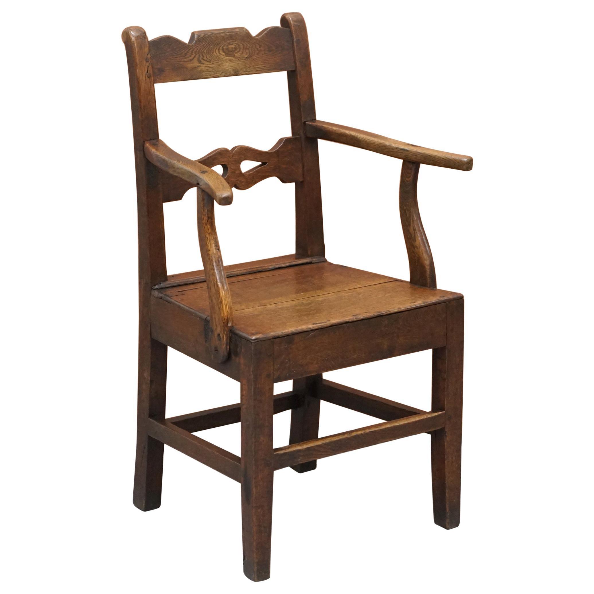 Lovely George II circa 1760 Primitive Carver Armchair Original Period Repairs