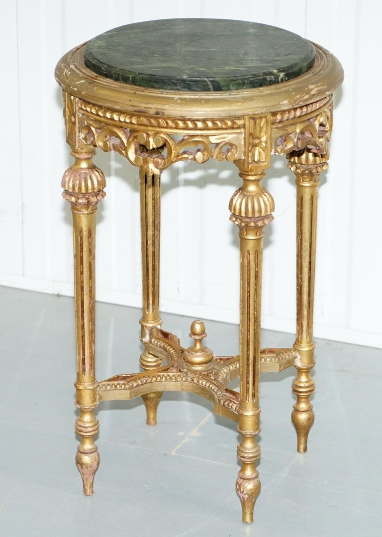 Baroque Lovely Green Marble Topped Giltwood French Rococo Stand Plants Busts Sculptures For Sale
