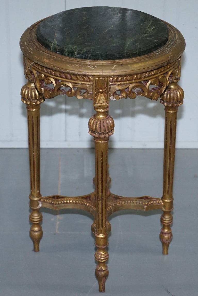 Hand-Crafted Lovely Green Marble Topped Giltwood French Rococo Stand Plants Busts Sculptures For Sale