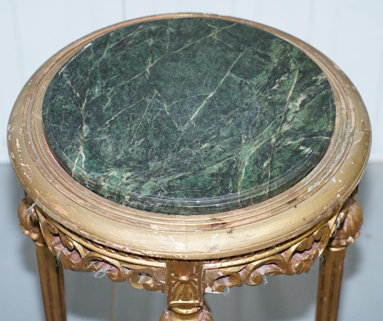 19th Century Lovely Green Marble Topped Giltwood French Rococo Stand Plants Busts Sculptures For Sale