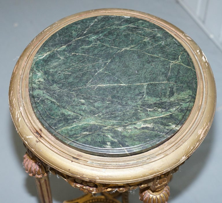 Lovely Green Marble Topped Giltwood French Rococo Stand Plants Busts Sculptures For Sale 1