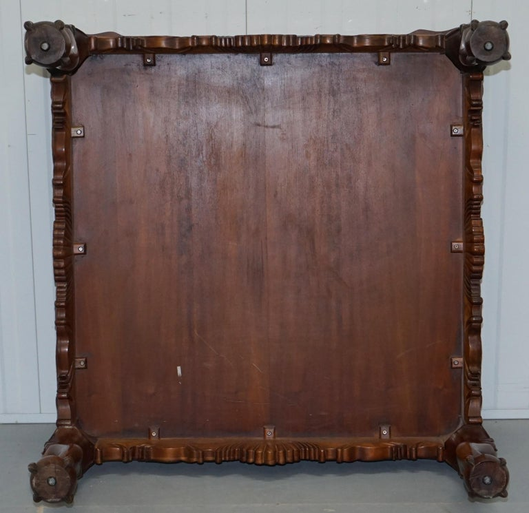 Lovely Hand Carved Brown Leather Top Mahogany Coffee Table