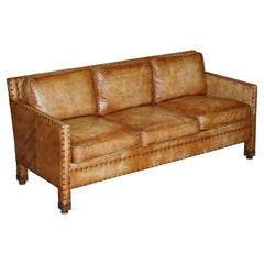 Lovely Hand Dyed Brown Leather Edwardian Style Studded Three Seat Sofa Part Set