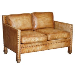 Lovely Hand Dyed Brown Leather Edwardian Style Studded Two Seat Sofa Part Set