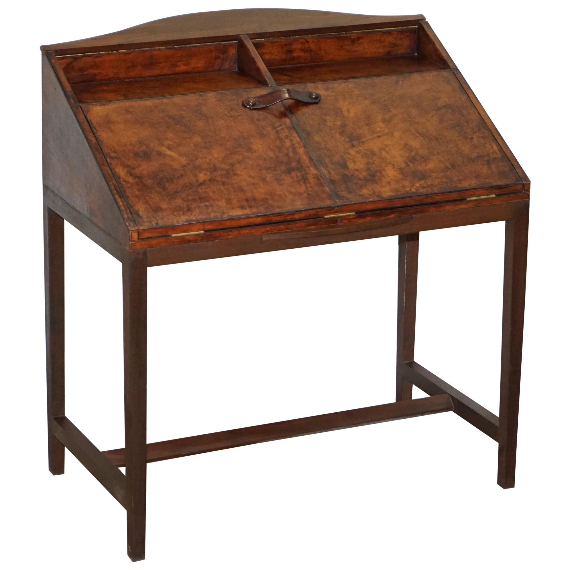 Lovely Hand Dyed Brown Leather Writing Table Desk or Bureau with Twin Drawers