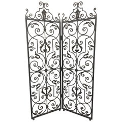 Lovely Hand Forged Wrought Iron Filigree Screen Room Divider
