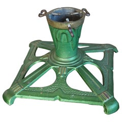 Lovely Handcrafted Cast Iron Art Deco Tree Stand for Small Christmas Trees Only