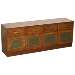 Lovely Harrods Flamed Mahogany and Green Leather Military Campaign Sideboard