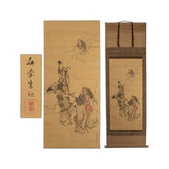 Lovely Japanese 18th-19th Century Edo or Meiji Scroll Painting Seven Lucky God