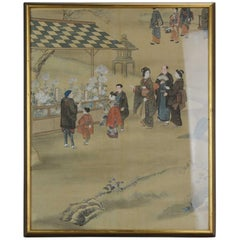 Lovely Japanese Scene Meiji Period Painting Japan Artist Village Scene